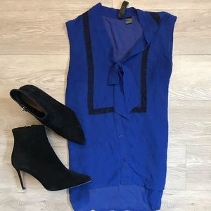 Tops - Sheer Royal Blue Tank with Front Bow
